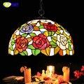 FUMAT витражные светильники с орнаментом из роз современное искусство подвесной светильник для гостиной ресторана лампа в европейском стиле ...