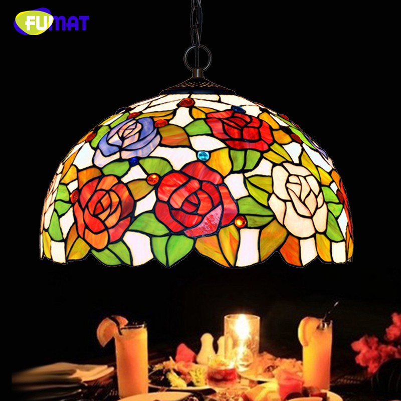 FUMAT Stained Glass Roses Lightings Modern Art Pendant Light For Living Room Restaurant Lamp European Style Pendant Lamp Lights fumat stained glass roses lightings modern art pendant light for living room restaurant lamp european style pendant lamp lights
