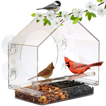 Bird Feeder Transparent Acrylic Adsorption Type House Shape Innovative Suction Cup Feeder