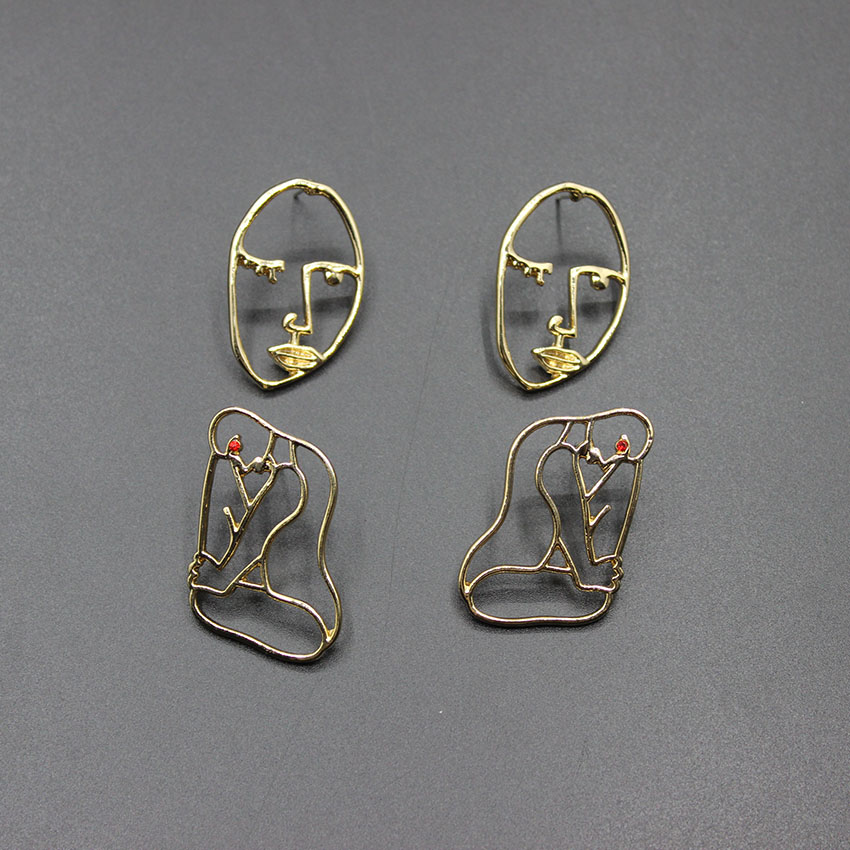 Personality Metal Face People Wild Fashion Handmade Abstract Earrings Face Mask Outline