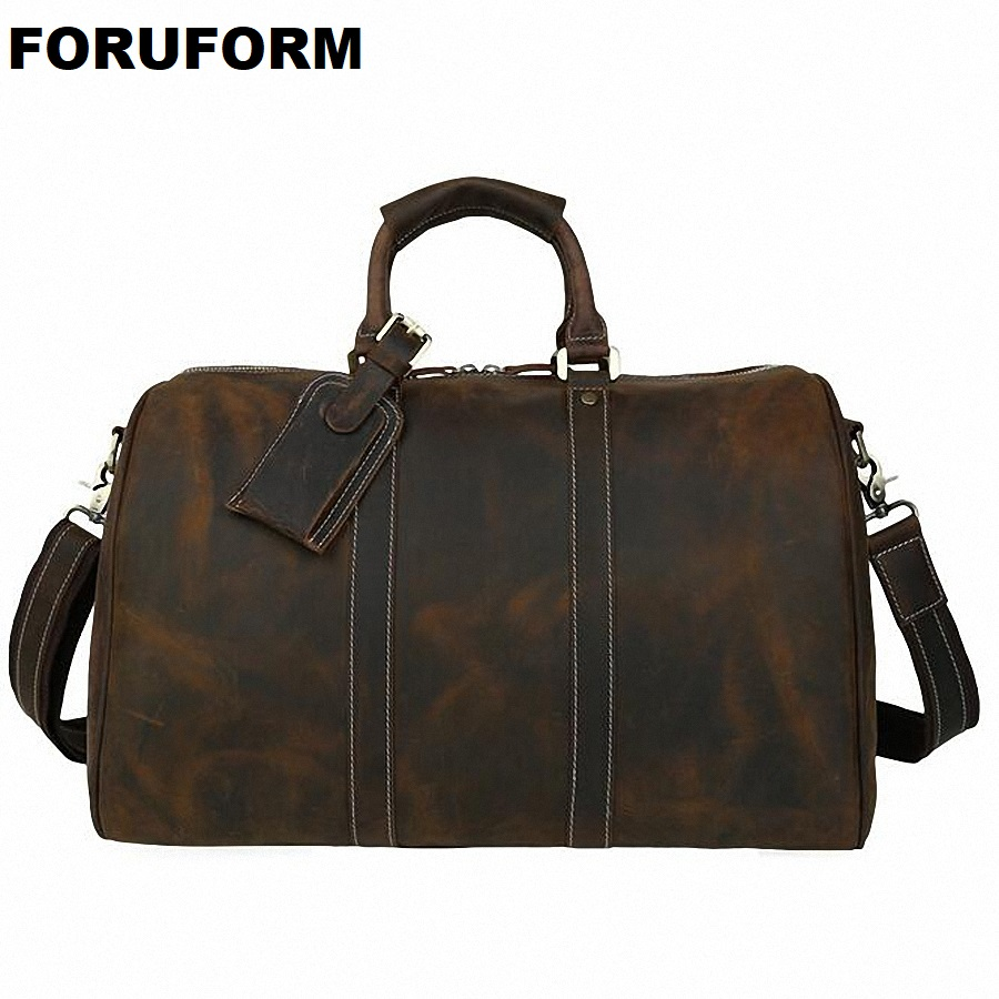 Crazy Horse Genuine Leather Men Bag Travel Duffle Tote 2018 Hot Large Capacity Vintage Genuine Leather