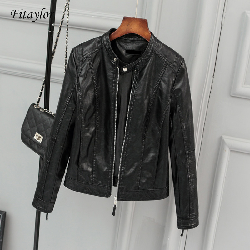 Fitaylor New Women Faux   Leather   Jacket Biker Coat Spring Autumn Black Zippers Outwear O Neck Slim Motorcycle Pu   Leather   Jackets
