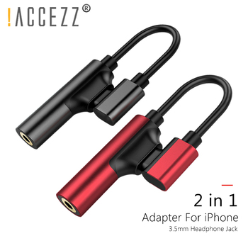 !ACCEZZ 2in1 Lighting 3.5mm Earphone Connector For iphone X 8 7 Plus Audio Charge Adapter AUX Splitter Cable Adapters For iphone 1