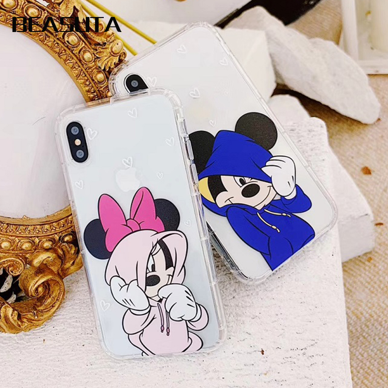 Cartoon Mickey Minnie Coque soft TPU Transparent Case For iPhone X 6 6s 8 7 Plus Soft Back Cover For iPhone XS MAX case in Half wrapped Cases from Cellphones Telecommunications