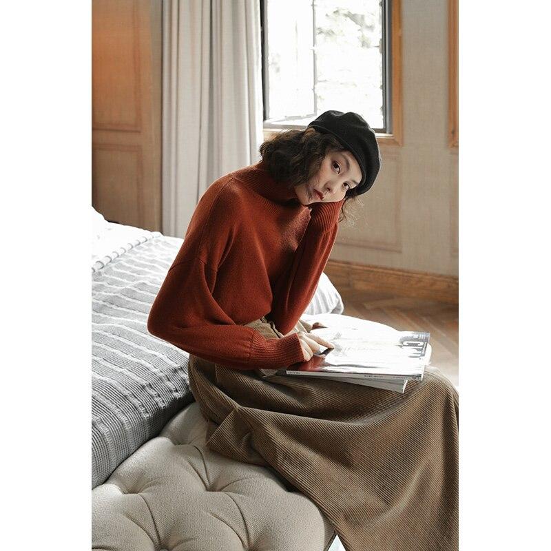 Invierno Lana De Marrón Diseño Chinoiserie Lynette's caqui Mujer Original Holgados Merina Para Otoño Jerseys ZRn0qHxH