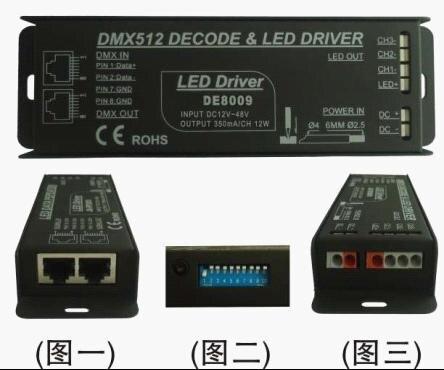 Free Shipping DMX512 Constant Current Decoder & LED Driver 3 Channels RGB LED Controller Input DC12-48V Model:DE8009