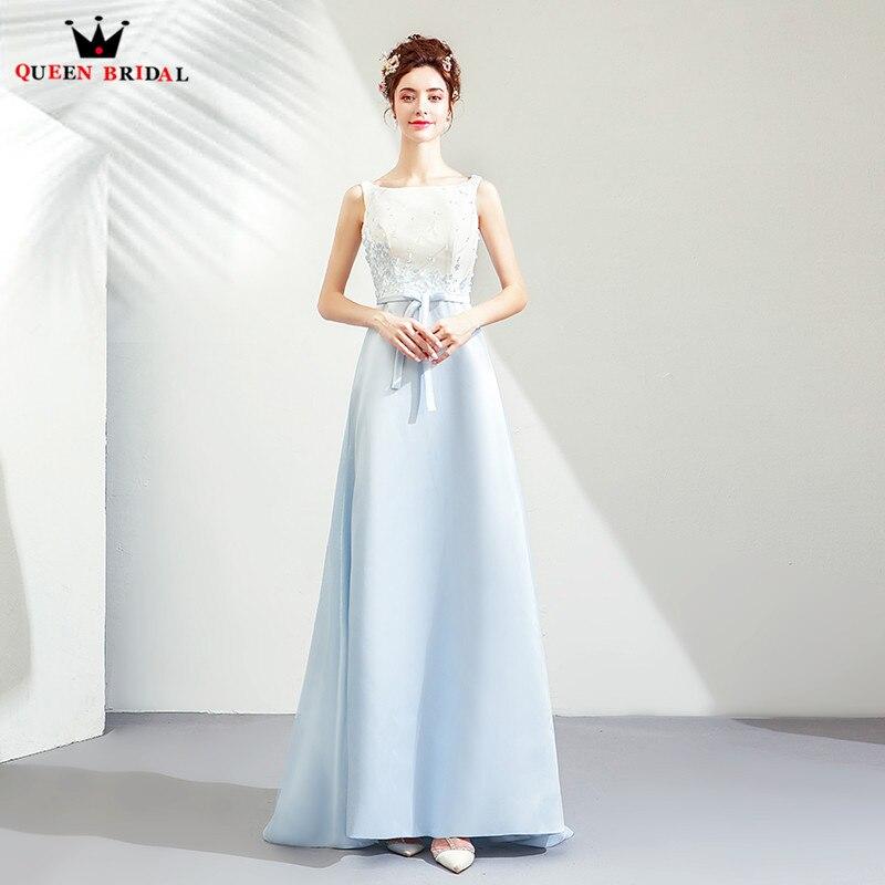 Sky Blue Elegant   Evening     Dresses   2019 Fashion A-line Satin Beading Appliques Party Gowns   Dress     Evening   Gown CS21