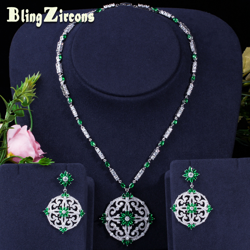BlingZircons Green Cubic Zircon Women Big Round Drop Earrings And Necklace Bridal Jewelry Set For Nigerian Wedding Evening JS046 pera newest big vintage hollow out design yellow cubic zircon round drop pendant necklace and earrings set for luxury women j199