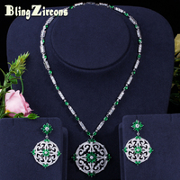 BlingZircons Green Cubic Zircon Women Big Round Drop Earrings And Necklace Bridal Jewelry Set For Nigerian Wedding Evening JS046