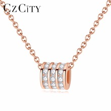 CZCITY Micro CZ Inlaied Transfer Beads Pendant for Women Rose Gold 925 Sterling Silver Lovely Pendant Necklace Silver Jewellery