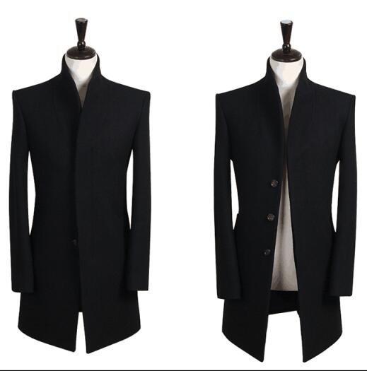 Stand collar grey casual Single breasted wool coat men 2020 trench jackets and coats mens wool