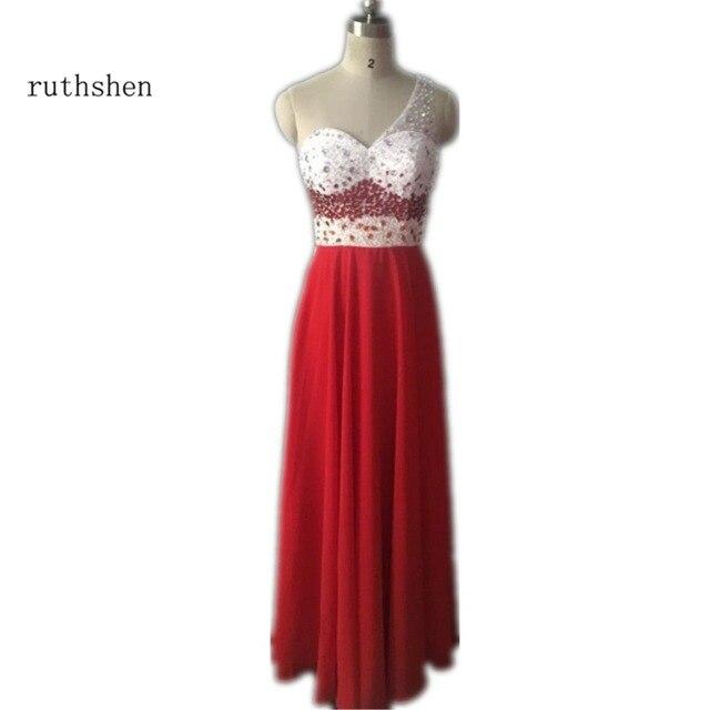 ruthshen One Shoulder Prom Dresses Beaded Sexy Backless Draped Red Chiffon Evening  Gowns Long Vestidos De Gala Largos 2018 c36d05529c7d