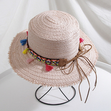 Women Sun Hats Korean Fashion Bow Ethnic Style Colorful Tasseled Sunshade Top Hat for Travel in Spring Summer women