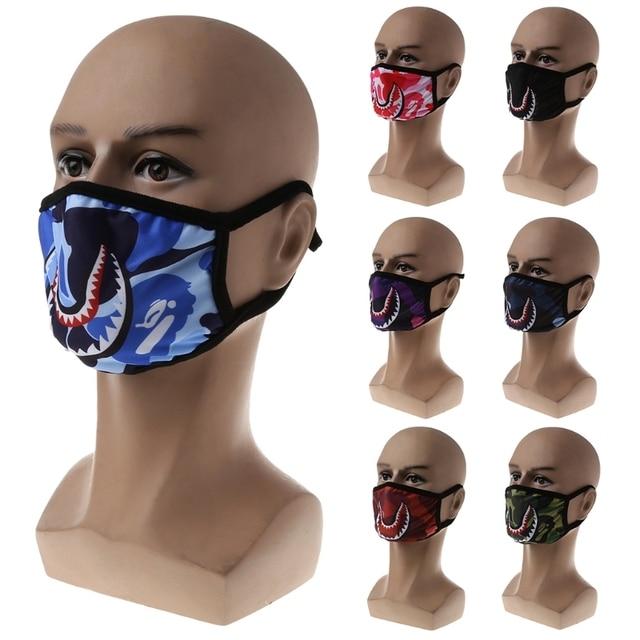 Women Men Unisex Hip Hop Trendy Half Face Mouth Mask Shark Colorful Camouflage Earloop Elastic Anti-Dust Kpop Muffle Protective 5