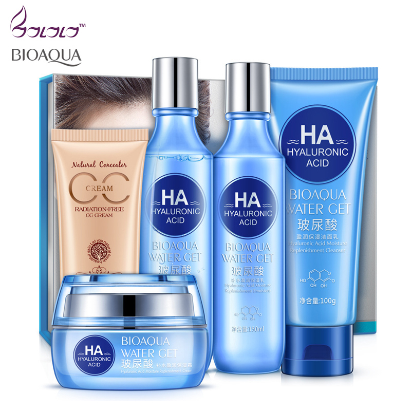 Bioaqua Skin Care Set Hyaluronic acid Face Cream Facial Cleanser Toner Lotion BB Cream Anti Wrinkle Anti Aging Skin Care Product цены