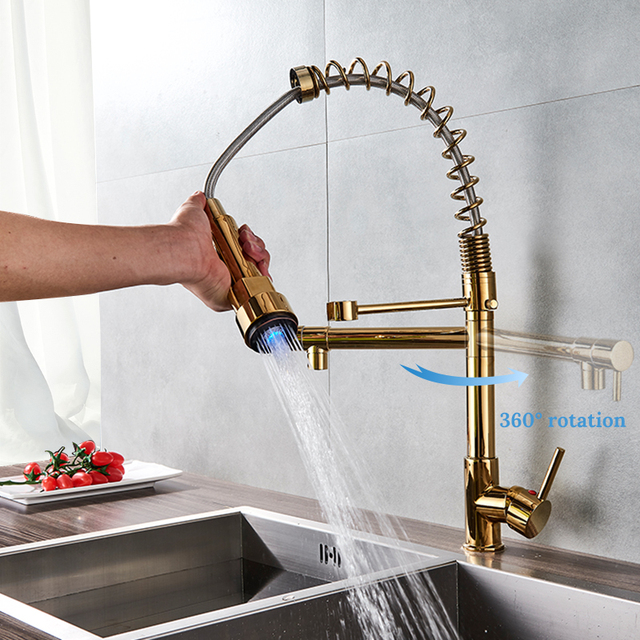 Uythner Modern Luxury Br Gold Kitchen Faucet Rotatable Mixer Tap With Led Single Sharp Handle