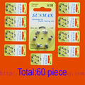 60 x Pilhas para Aparelhos Auditivos A10 10A ZA10 10 PR70