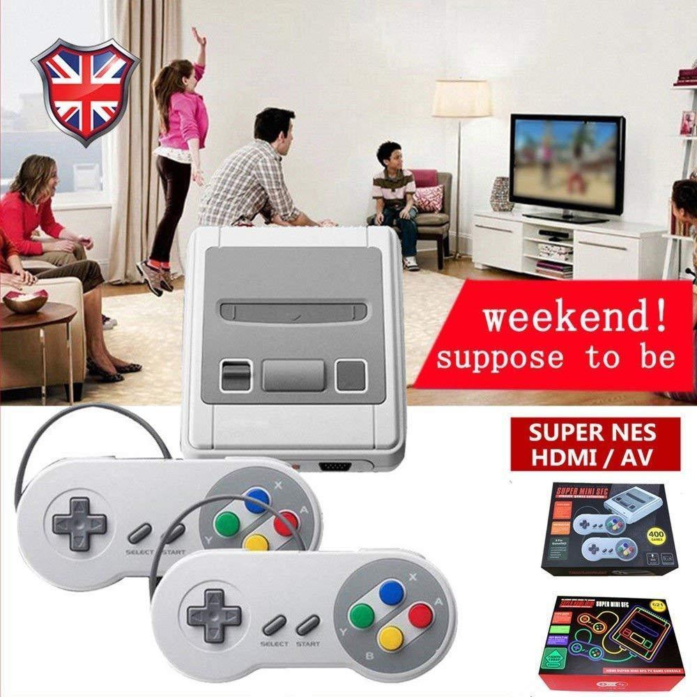 Retro Mini Handheld Game Console HDMI 8 Bit Family TV SFC NES SNES Built-in 621 Classic Games & Power conversion plug Party Gift