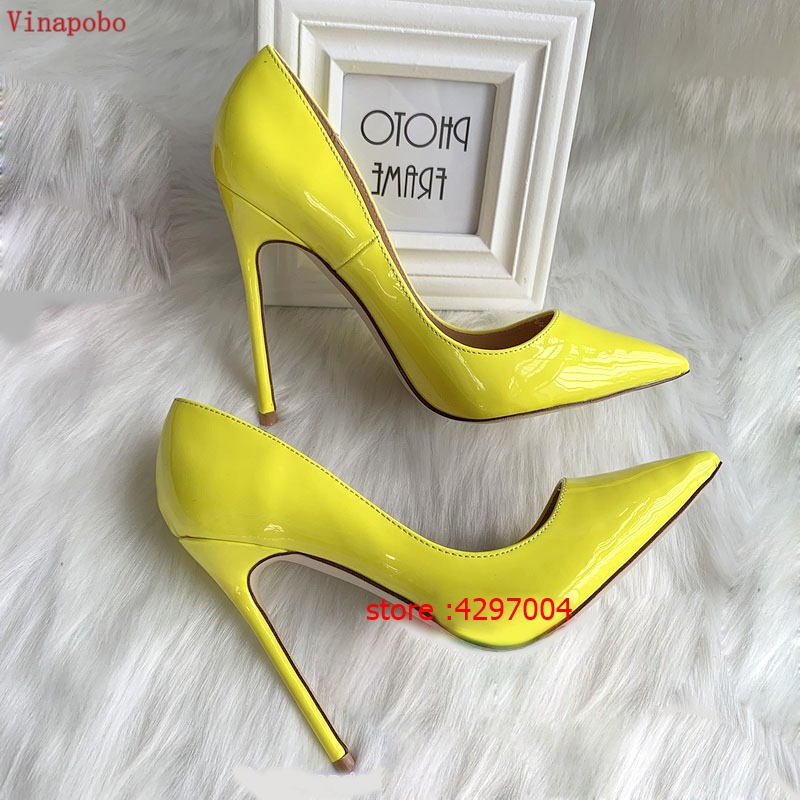 Vinapobo patent leather woman thin high heels colorful yellow green stiletto office wedding shoes lady pumps