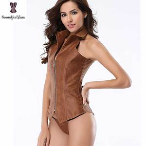 Image 4 - Halterneck Brown Corset Steampunk Overbust Bustier Steel Boned Zipper Plus Size Corselet Punk Leather Korset Outfit Body Shaper