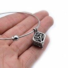 Square Lava Locket Bracelet Expandable Bangles Essential Oil Diffuser B