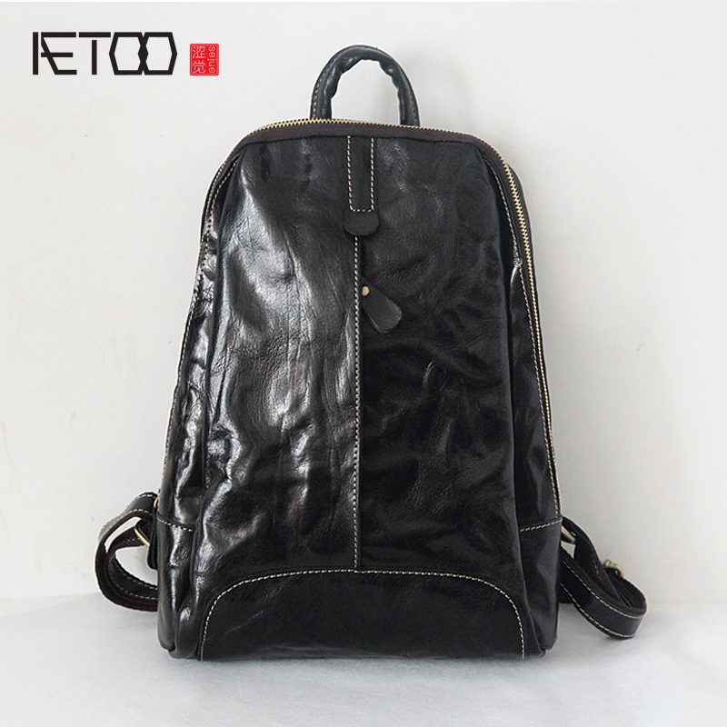 Фотография AETOO The new hand grasping the first layer of leather cowhide leather leather Korean simple backpack