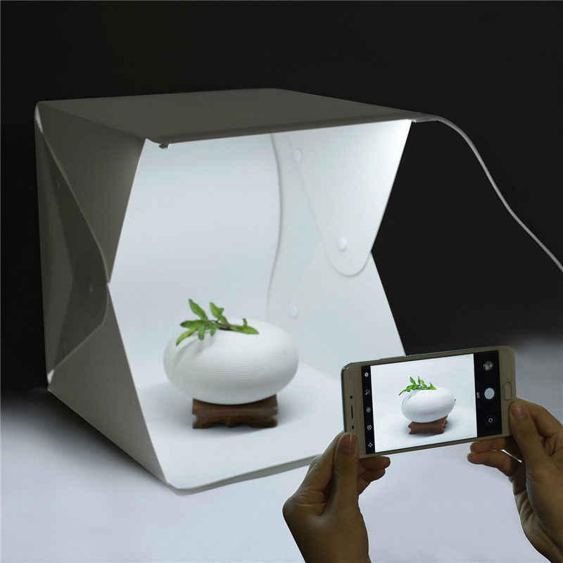 Neufday Portable Folding LED Mini Photography Light Box with 2 Color Background Cloth