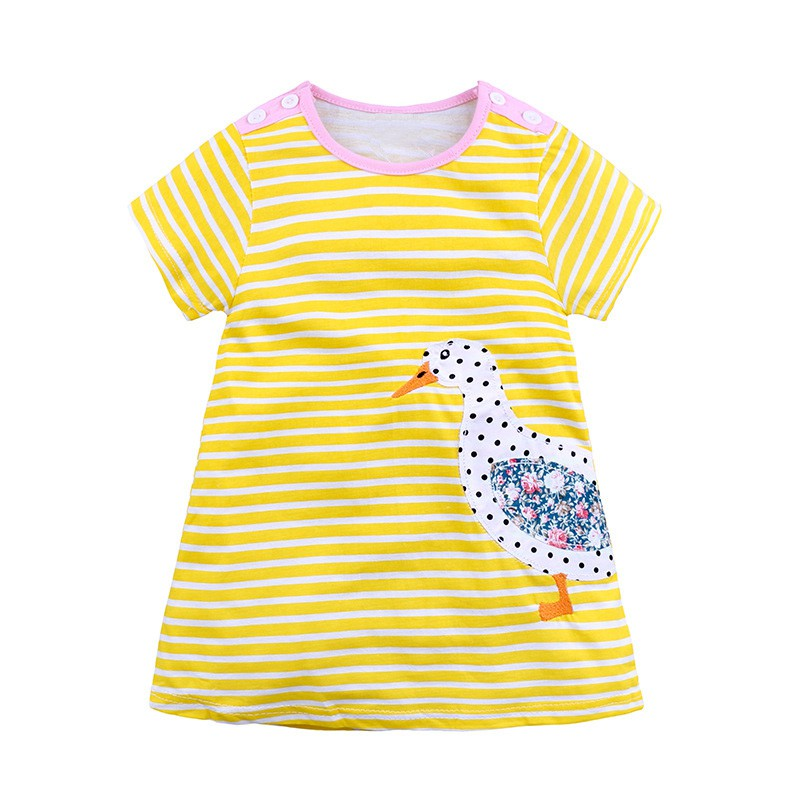 Stylish Baby Girl Dress With Cute Cartoon Pattern And Short Sleeve Comfortable For Kids Dressing In Different Places