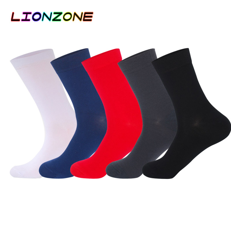 LIONZONE 5Pairs/Lot 2018 New Arrival Brand Bamboo Fiber Classic Business Mens Socks Men Deodorant Dress Socks Winter Warm Sock