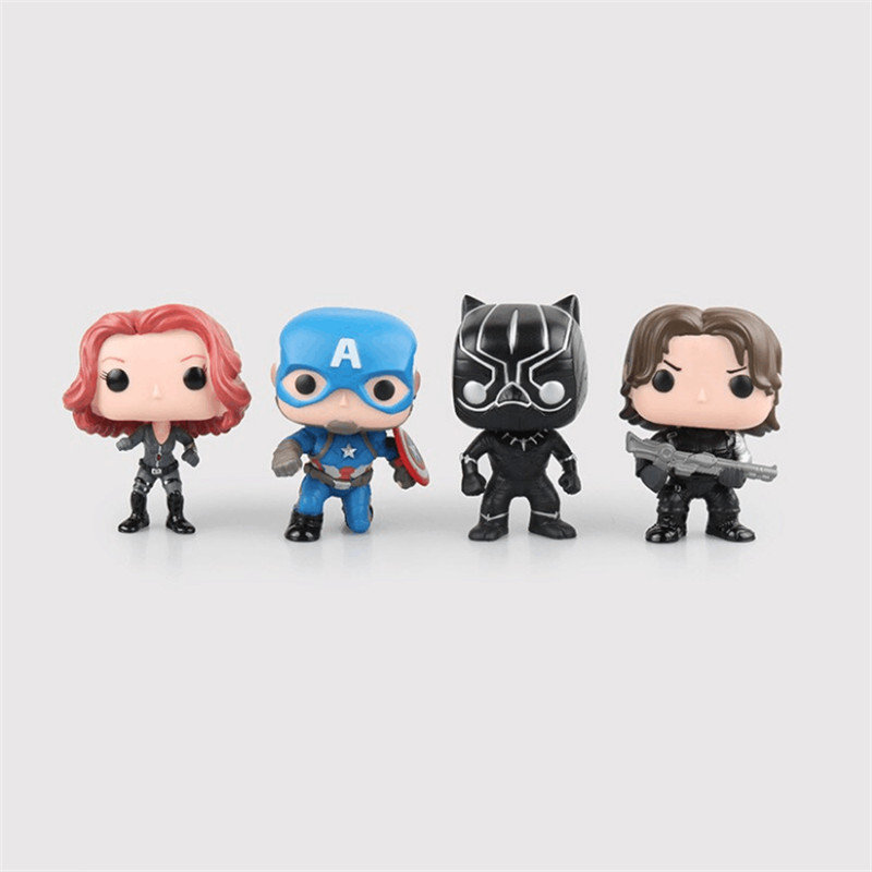 The Avengers Infinity War FUNKO POP Thanos Black Panther Black Widow Winter Soldier 10cm Action Figure Collection PVC Doll funko pop marvel loki 36 bobble head wacky wobbler pvc action figure collection toy doll 12cm fkg120