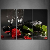 Framed Wall Art Pictures Grape Wine Rose Leaf Canvas Print Food Modern Posters With Wooden Frames For Living Room Decor