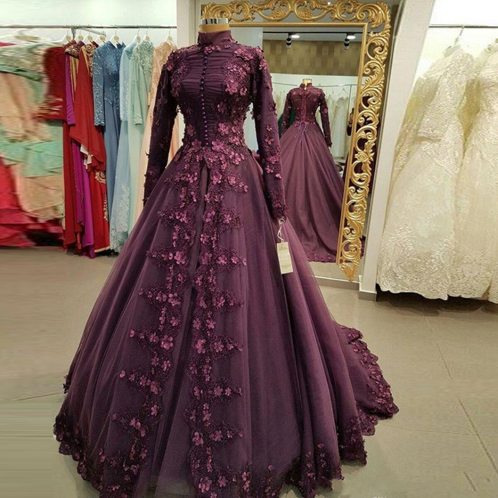 Evening Dresses Appliques Custom Made Formal Long Sleeve Evening ...