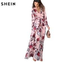 Шеин Для женщин длинные платья Глубокий V Средства ухода за кожей шеи Линия Макси летнее платье Цветочный принт длинные манжеты Sleeve Surplice Обёрточная бумага платье