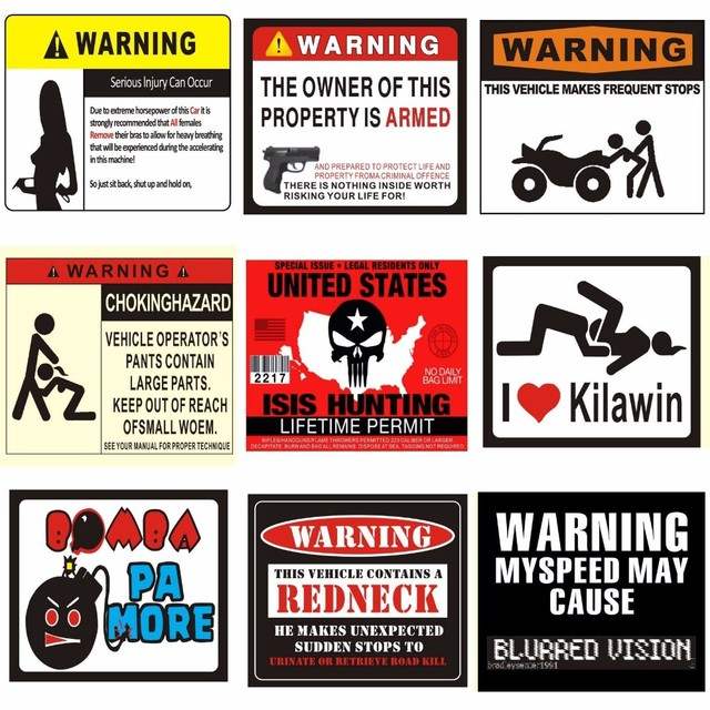 new warning signs funny stickers waterproof stickers can be used