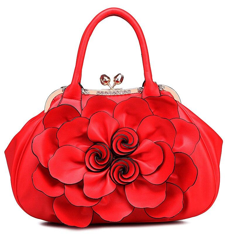 Wyq693 Red Deisgner En light Célèbres red Main De Sac Cuir Purple Sacs pink Fleur Luxe Black white Arnochen rose Femmes Marques tout Fourre À Mode Dames q7C4wwtT