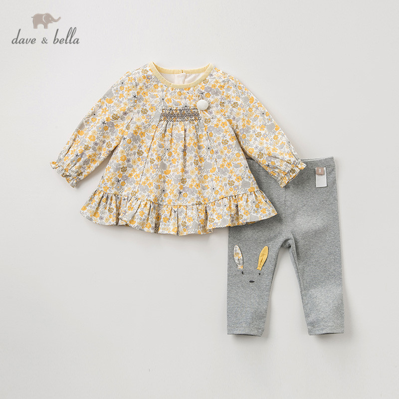 DBJ11490 Dave Bella Spring Autumn Baby Girls Fashion Rabbit Floral Clothing Sets Kids Cute Long Sleeve Sets Children 2 Pcs Suit