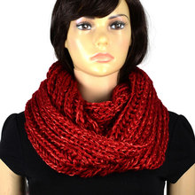 Winter Warm Yarn Scarf for Women Sequins with Yarn Infinity Knit Scarf Circle Endless Loop Crochet Circle Thick Scarf NL2054