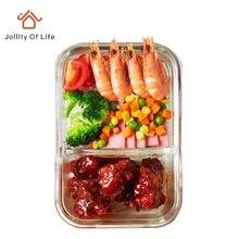 2 Unterteilt Fächer Glas Lunch Box Geschirr Set Mikrowelle 400 Grad Widerstand; 500 ml lunchbox Mittagessen Kit