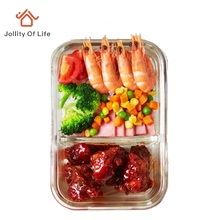 Cajas de Almuerzo De Vidrio borosilicato con Compartimiento Microondas Vajilla de la Resistencia de 400 Grados; 500 ml lonchera del Almuerzo Kit