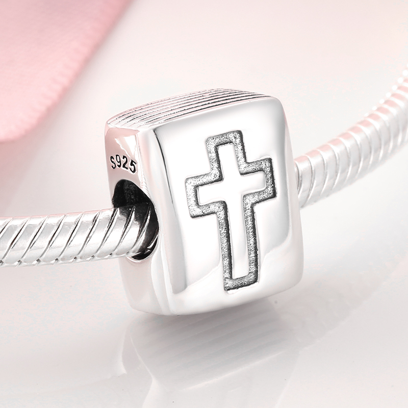 New DIY Gift Elegant 925 Sterling Silver Beads Square shape faith cross Fit Pandora Charms Bracelet Women Jewelry Making in Beads from Jewelry Accessories