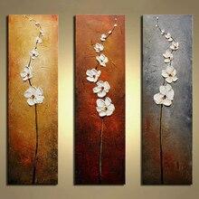 Sans cadre 3 Panneaux Blanc Fleur Peint À La Main Peinture À L'huile Moderne Mur Photo Palette Couteau Peinture Pour La Décoration des Motifs