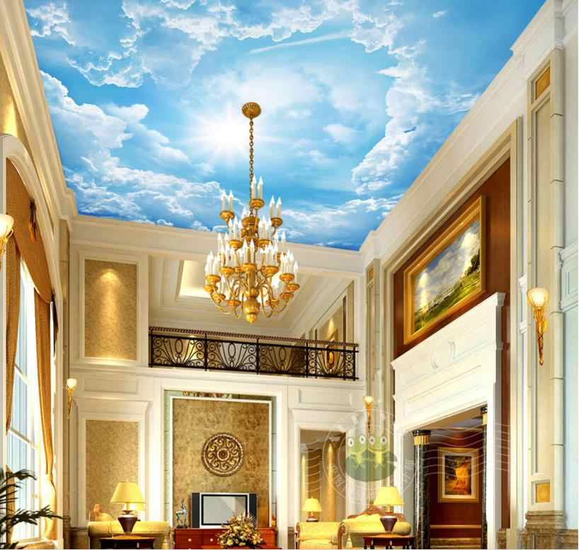 Custom Large Wall papers Home Decor Sky Ceiling Wallpaper Sunlight illuminates Blue Sky And White Clouds Living Room 3D Ceiling