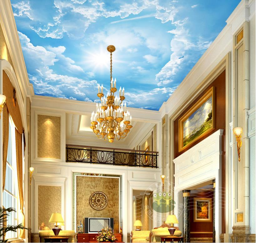 Custom Large Wall papers Home Decor Sky Ceiling Wallpaper Sunlight illuminates Blue Sky And White Clouds Living Room 3D Ceiling custom ceiling wallpaper blue sky and white clouds murals for the living room apartment ceiling background wall vinyl wallpaper