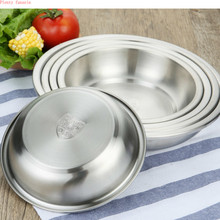 5 diameter 16/18/20/22/24cm high Quality thicken 304 stainless steel plate round dish creative tableware food deepens  tray