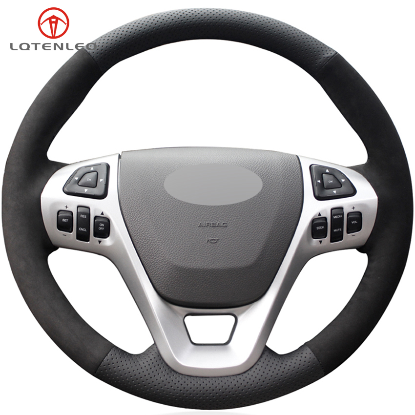 LQTENLEO Black Genuine Leather Suede Car Steering Wheel Cover For Ford Explorer 2011 2019 Taurus Flex