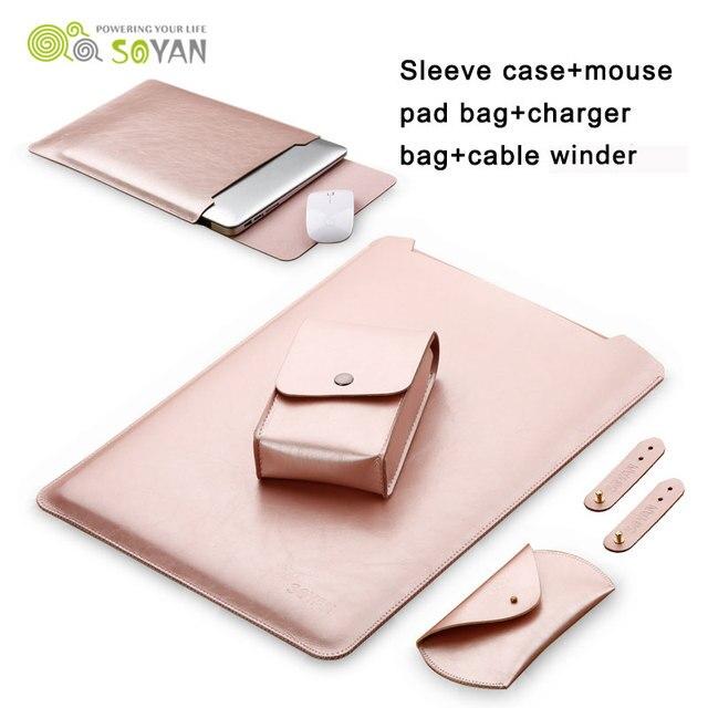 Laptop Manga Caso Bolsa de Saco Carregador Caso 3 pcs Couro Enrolador de Cabo Do Mouse capa para macbook air 13 11 pro 13 15 polegada macbook 12