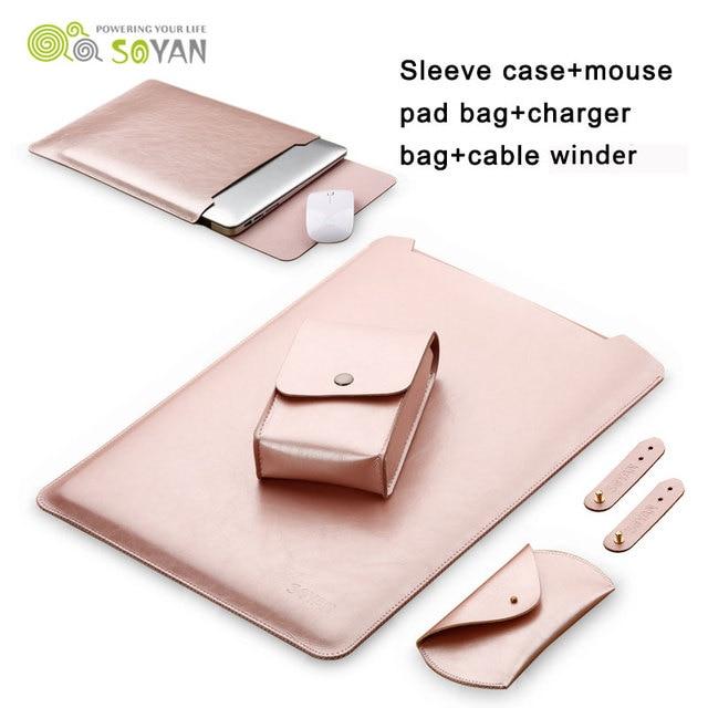 Laptop Sleeve Чехол Зарядное Устройство Мешок Мышь Чехол 3 шт. Намотки Кабеля Кожи крышка для Macbook Air 13 11 Pro 13 15 дюймов Macbook 12