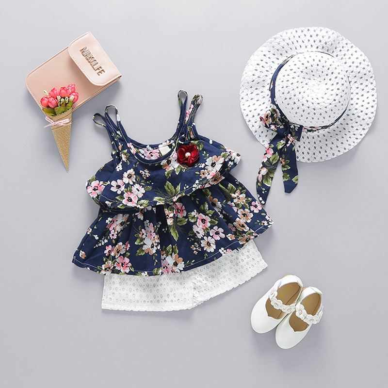 2018 Summer Newborn Baby Girl Clothes Strap Bow Vest + Floral Shorts + Fashion Hat 3Pcs Set Baby Clothing Suit For Girls Clothes 1
