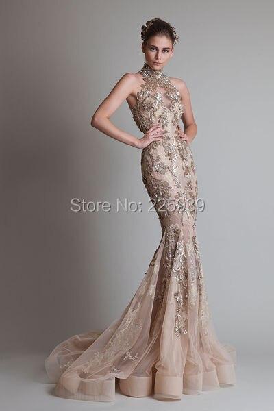 41a511bbfcd Krikor Jabotian High Neck Golden Appliques Buttons Back Mermaid Evening  Dresses Couture Beautiful Evening Gowns Sparkly. krikor jabotian evening ...