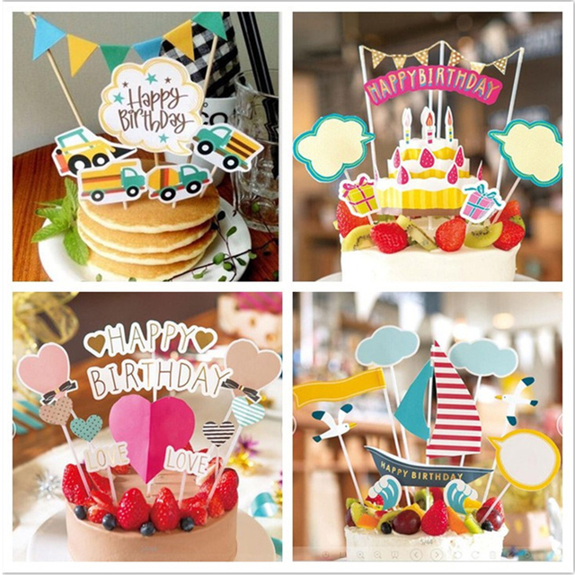 7type Happy Birthday Party Cake Topper Cartoon Bear Car Baby Shower